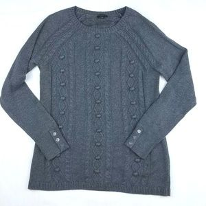 Talbots charcoal gray cable knit sweater size S